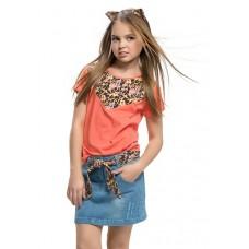 """Джемпер (модель """"футболка"""") для девочки Pelican GTR492/2 red"""