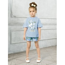 """Джемпер (модель """"футболка"""") для девочки Pelican GFT3111 лазурная"""