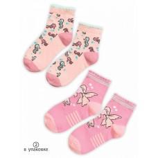 GEG3158(2) Носки для девочек (2 пар в кор.) Pelican, розовый/ванильный