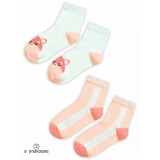 GEG3160(2) Носки для девочек (2 пар в кор.) Pelican, персиковый/ментол