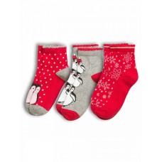 GEG3046(3) Носки для девочек (3 пар в кор.) Pelican, серый/красный/красный