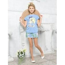 """Джемпер (модель """"футболка"""") для девочки Pelican GFT4111/2 лазурная"""