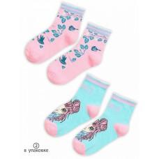 GEG3159(2) Носки для девочек (2 пар в кор.) Pelican, голубой/розовый
