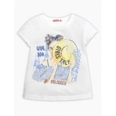 """Джемпер (модель """"футболка"""") для девочки Pelican GFT3111/3 белая"""